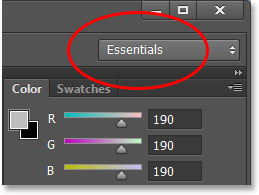 The workspace selection box in Photoshop CS6. Image © 2013 Steve Patterson, Photoshop Essentials.com