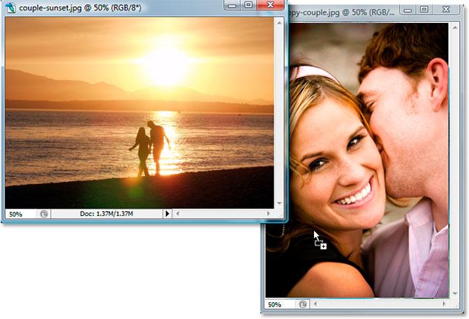 Dragging photos. Image © 2007 Photoshop Essentials.com..