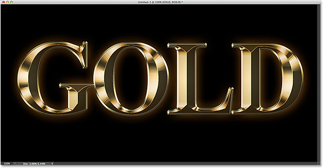 The gold text effect is nearly complete. Image © 2014 Photoshop Essentials.com