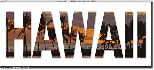 Placing an image in text with Photoshop CS6. Image © 2014 Photoshop Essentials.com
