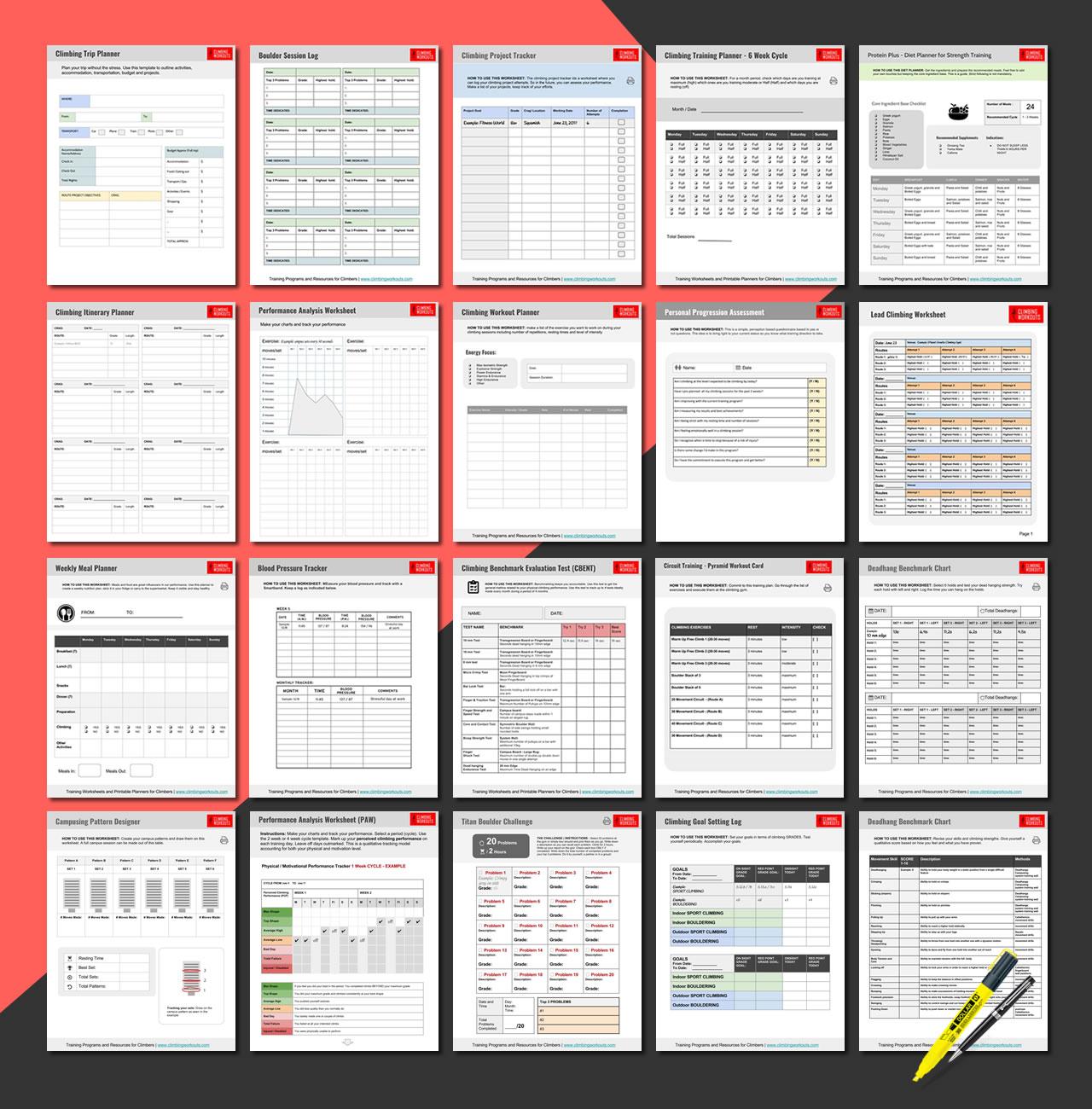 Climbing Training Printable Power Pack Worksheets Logs