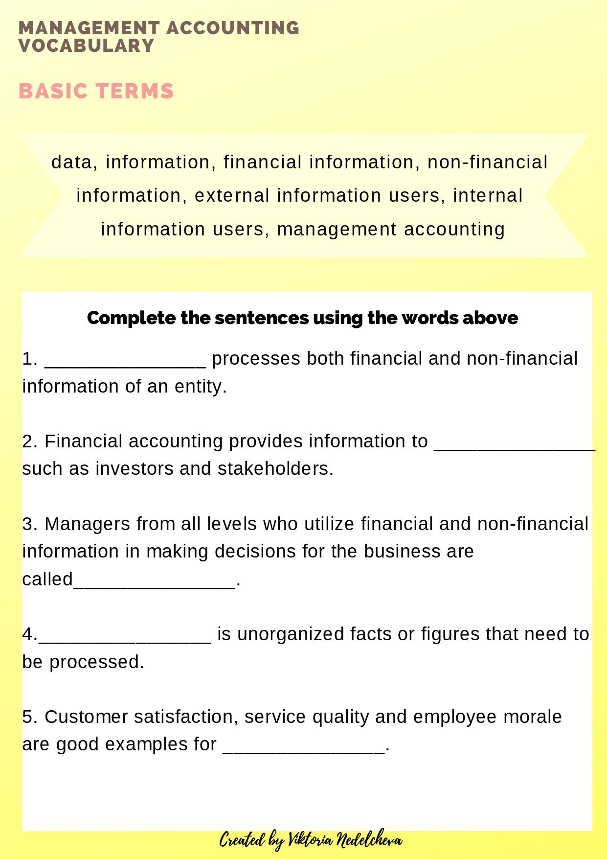 Management Accounting Vocabulary