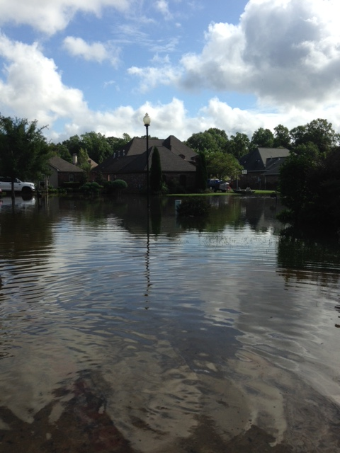 View from our front porch as flood waters continued to rise
