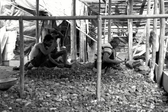 construction of a masjid for the refugee camp. many men of the families residing there are employed in this construction. they are paid Rs.300 per day.
