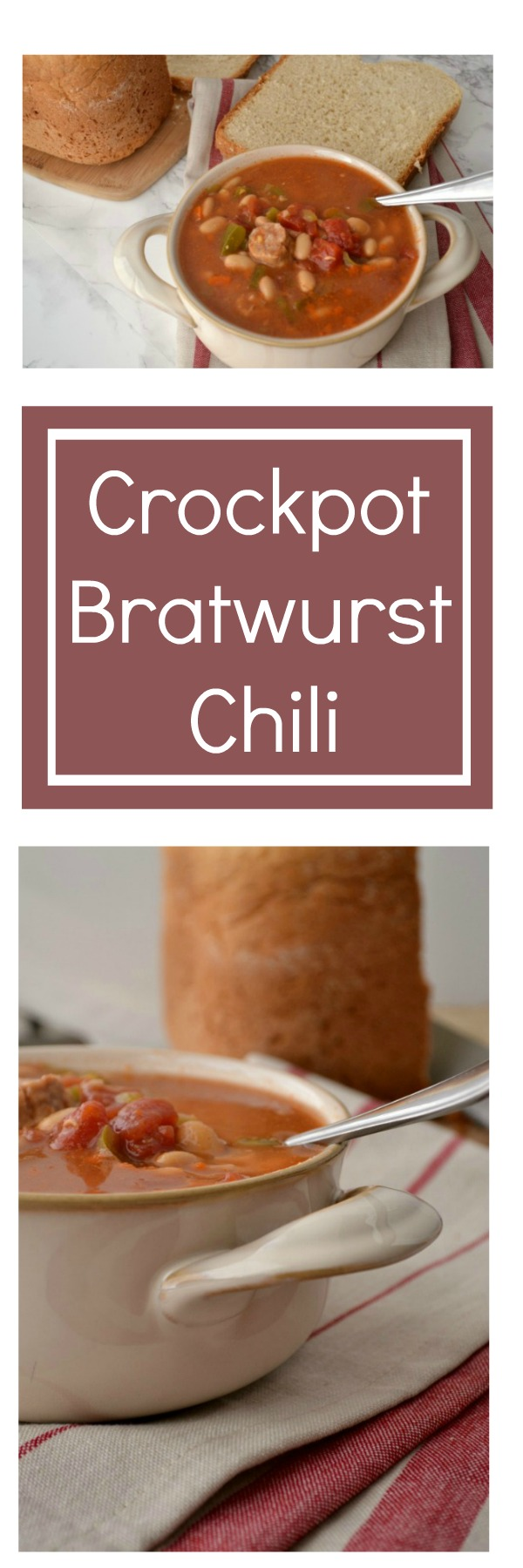 A delicious crock pot chili recipe with bratwurst -- tasty and mild enough for kids!