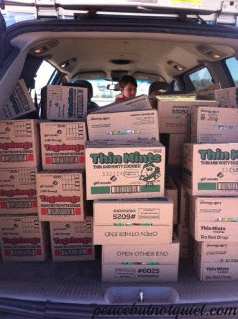 Girl Scout cookie boxes in my car
