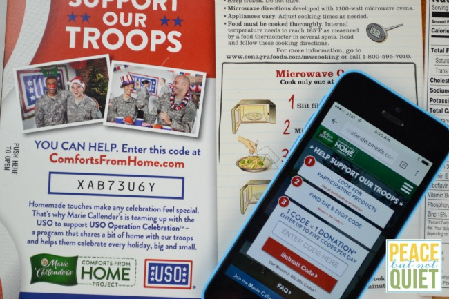 Support the USO -- buy Marie Callendar's meals, enter the code on the back, and Marie Callendar's will donate $.50 to the USO
