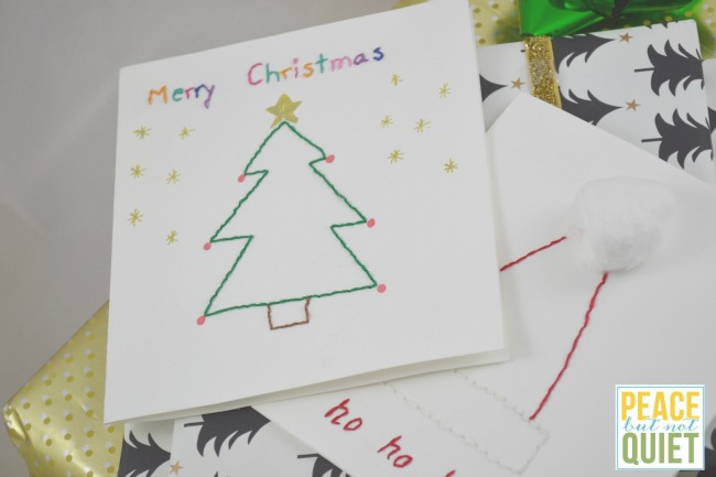 These beautiful embroidered Christmas cards are fun easy Christmas crafts to introduce sewing to kids.