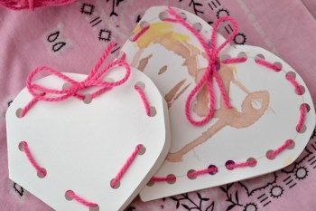 Kid-Made Lacing Heart Valentines