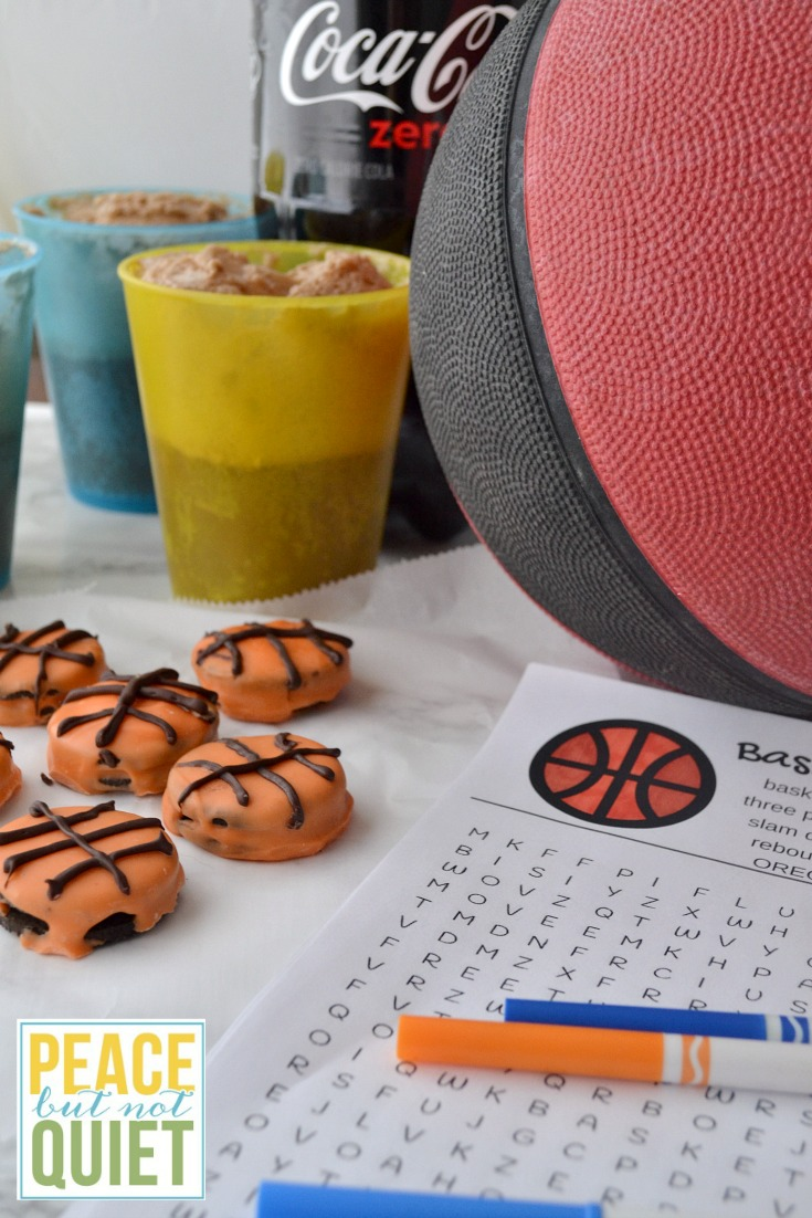fun basketball party ideas -- Coke floats and basketball OREO cookies