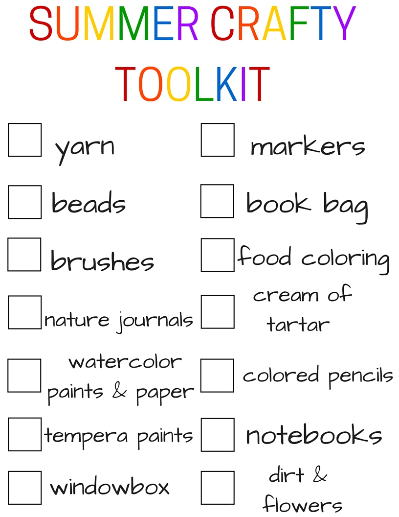 Summer Crafty Toolkit Shopping List