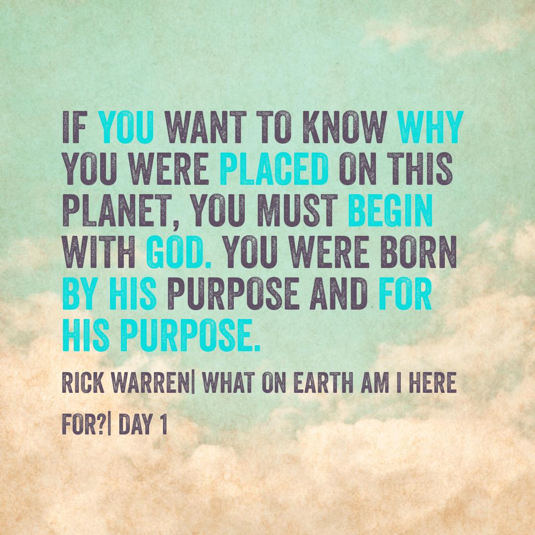 Purpose Driven Life Day 1 3