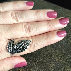 This color is vaguely 80's and 90's reminiscent.  I think I wore a similar shade at my wedding.  And the ring?  Another Old Navy find.