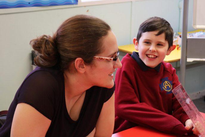 Michaela at Saint Oliver Plunkett primary school in Belfast
