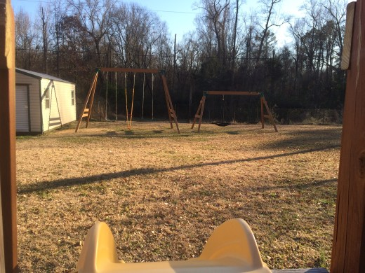 family swing sets Greg built for us to all enjoy