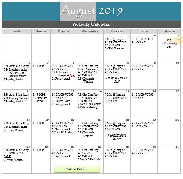August 2019 Newsletter & Calendar - Peace Lutheran Church