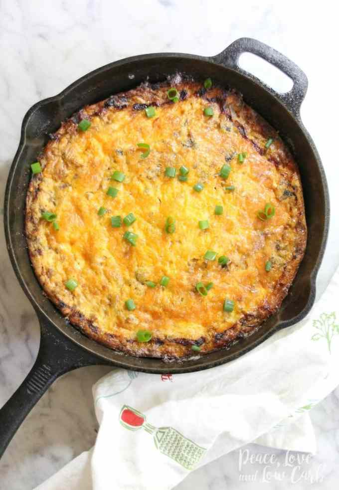 Keto Spicy Sausage and Caramelized Onion Breakfast Bake   Peace Love and Low Carb