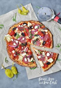 Low Carb Greek Pizza and Nut Free Pizza Crust - Peace Love and Low Carb
