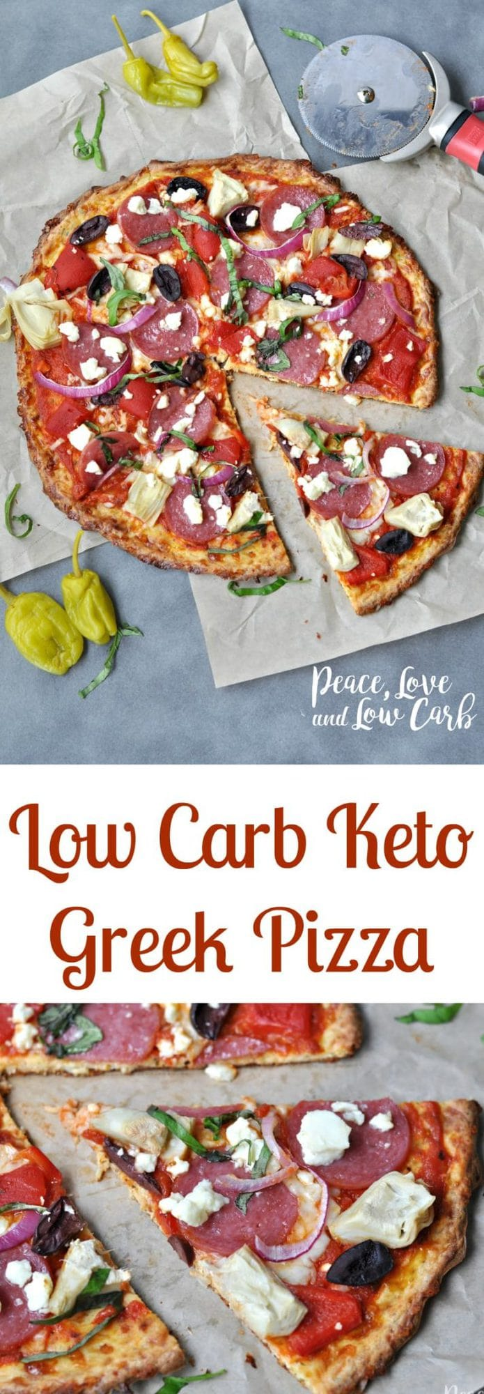 Low Carb Greek Pizza and Nut Free Pizza Crust | Peace Love and Low Carb