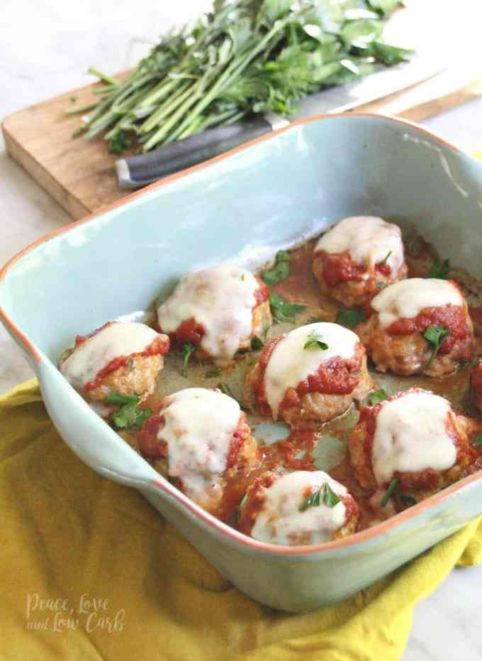 Keto Low Carb Chicken Parmesan Meatballs | Peace Love and Low Carb