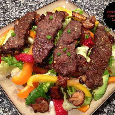 Balsamic Flat Iron Steak Salad (Low-Carb, Gluten-Free Paleo, Dairy-Free, Whole30)