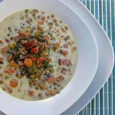 Creamy Ham and Lentil Soup