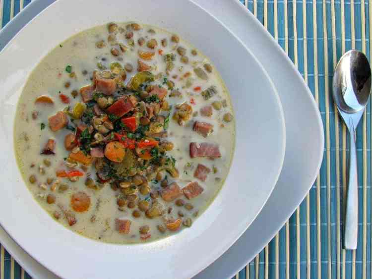 Creamy Ham and Lentil Soup - Low Carb, Gluten Free | Peace Love and Low Carb