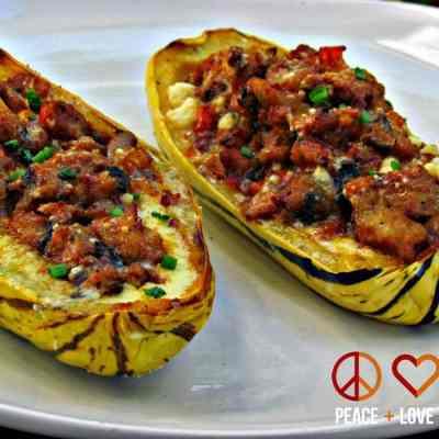 Breakfast Stuffed Delicata Squash Boats – Low Carb, Gluten Free, Primal