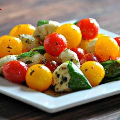 Mini Caprese Salad with Balsamic Shallot Vinaigrette