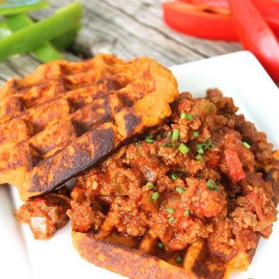 Paleo Sloppy Joes with Sweet Potato Waffles  – Paleo, Low Carb, Gluten Free