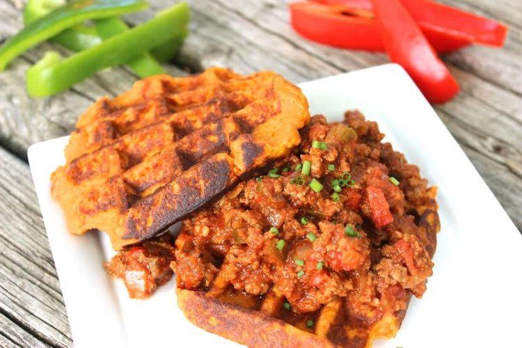 Paleo Sloppy Joes with Sweet Potato Waffles
