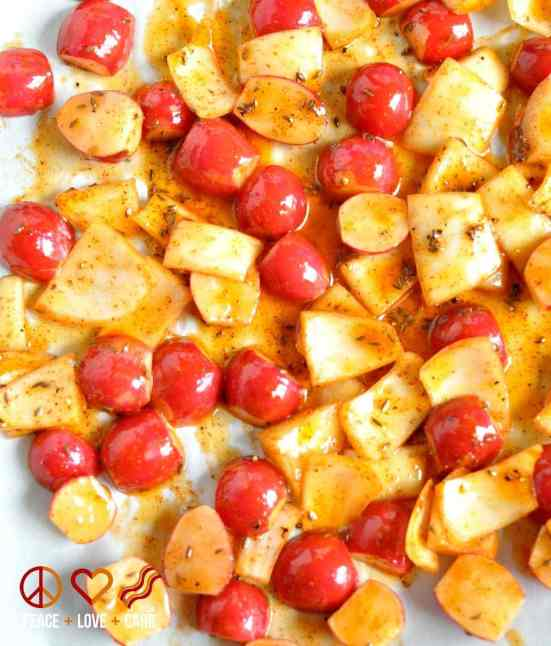 Paprika Roasted Radishes with Onions - Low Carb, Gluten-Free, Paleo