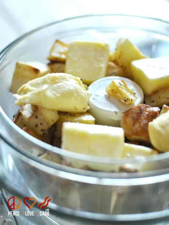 Roasted Garlic Turnip Puree with Chorizo - Low Carb, Gluten Free