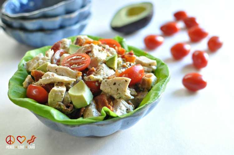 BLTA Pesto Chicken Salad - Low Carb, Gluten Free, Paleo | Peace, Love and Low Carb
