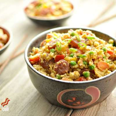 """Chinese Sausage Fried """"Rice"""" – Low Carb"""