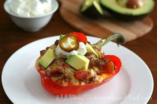 Cowboy Chili Stuffed Peppers - 50 Low Carb Stuffed Peppers Recipes Round Up | Peace Love and Low Carb