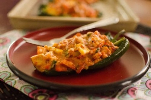 Enchilada Stuffed Poblano Peppers - 50 Low Carb Stuffed Peppers Recipes Round Up | Peace Love and Low Carb