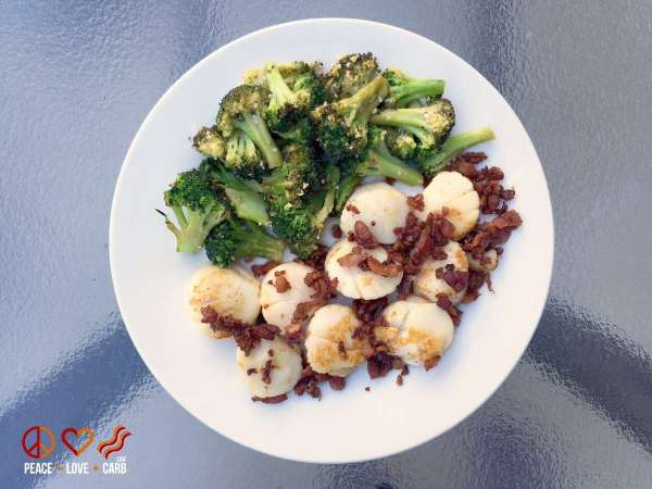 Seared Scallops with Bacon and Garlic Roasted Broccoli - My 100 Pound Journey - Peace Love and Low Carb