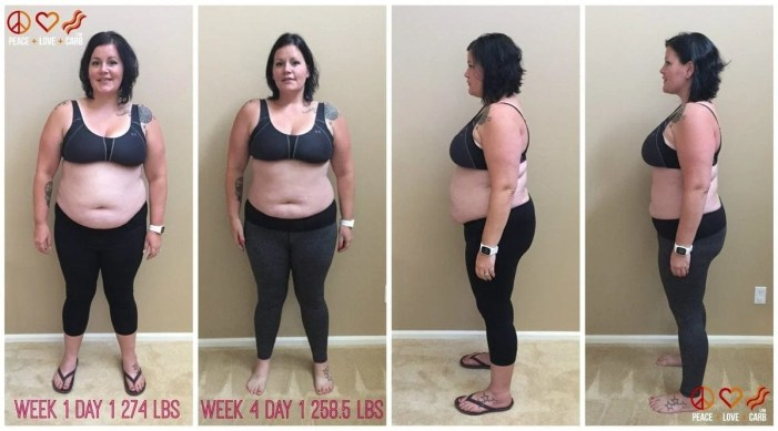 Week 1 Day 1 and Week 4 Day 1 Side by Side Comparison - My 100 Pound Journey 15.5 lbs lost. 84.4 to go | Peace Love and Low Carb