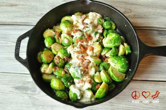 Skillet Roasted Bacon Brussels-Sprouts-with-Garlic Parmesan Cream Sauce | Peace Love and Low Carb