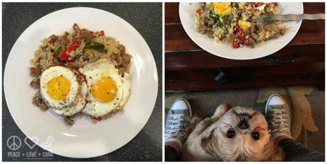 Breakfast cauliflower fried rice with eggs - Peace Love and Low Carb