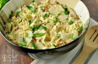 Spaghetti Squash Alfredo with Pancetta and Peas - Low Carb, Gluten Free | Peace Love and Low Carb