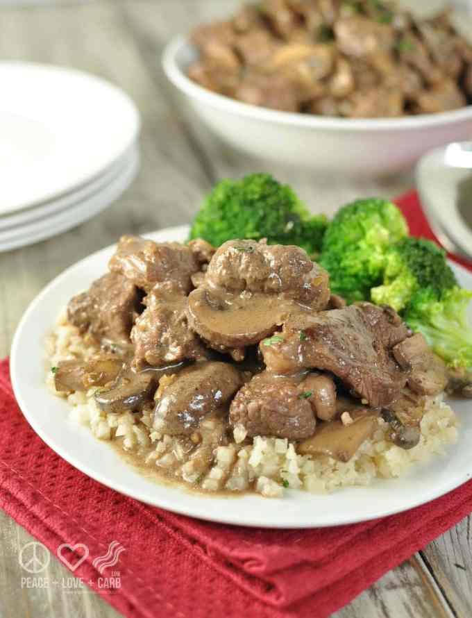 Low Carb Beef Tips in Mushroom Brown Gravy