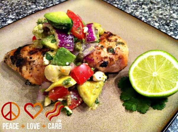 Chili Lime Rubbed Chicken with Avocado Feta Salsa | Peace Love and Low Carb