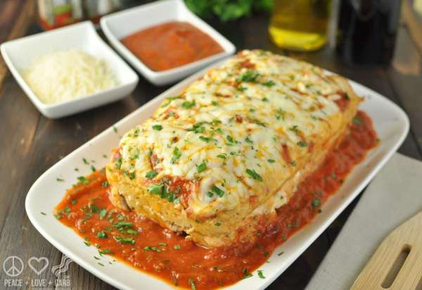 Stuffed Chicken Parmesan Meatloaf | Peace Love and Low Carb