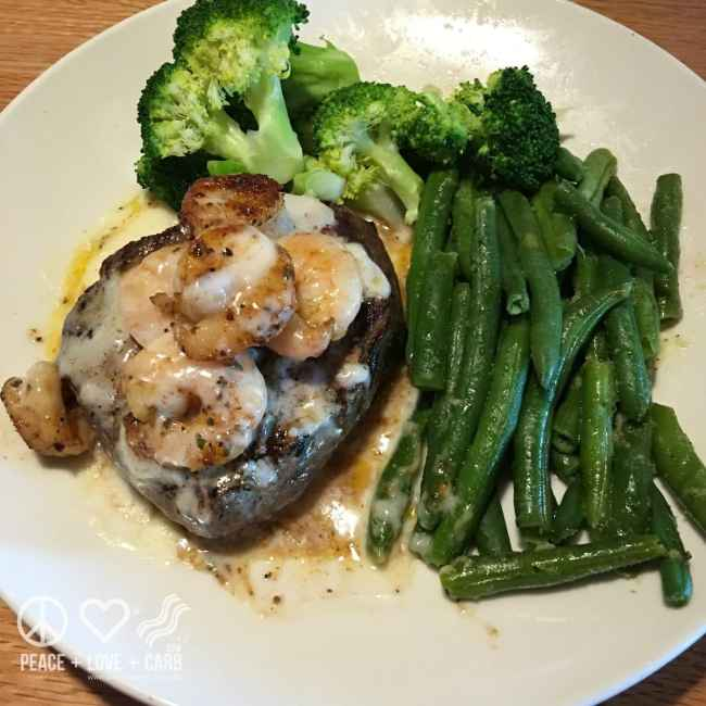Steak and Shrimp with Broccoli and Green Beans - Low Carb, Gluten Free | Peace Love and Low Carb