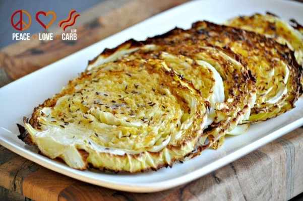 Oven Roasted Cabbage Wedges - Low Carb, Gluten Free, Paleo