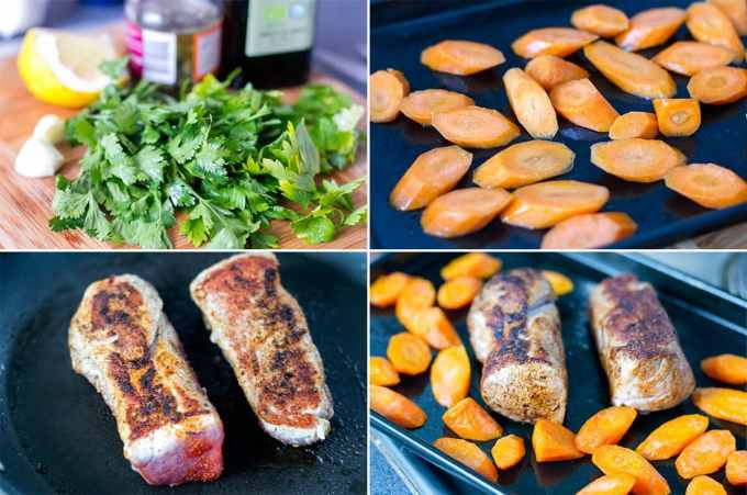 Roasted Pork Tenderloin With Salsa Verde & Balsamic Carrots - Low Carb | Peace Love and Low Carb