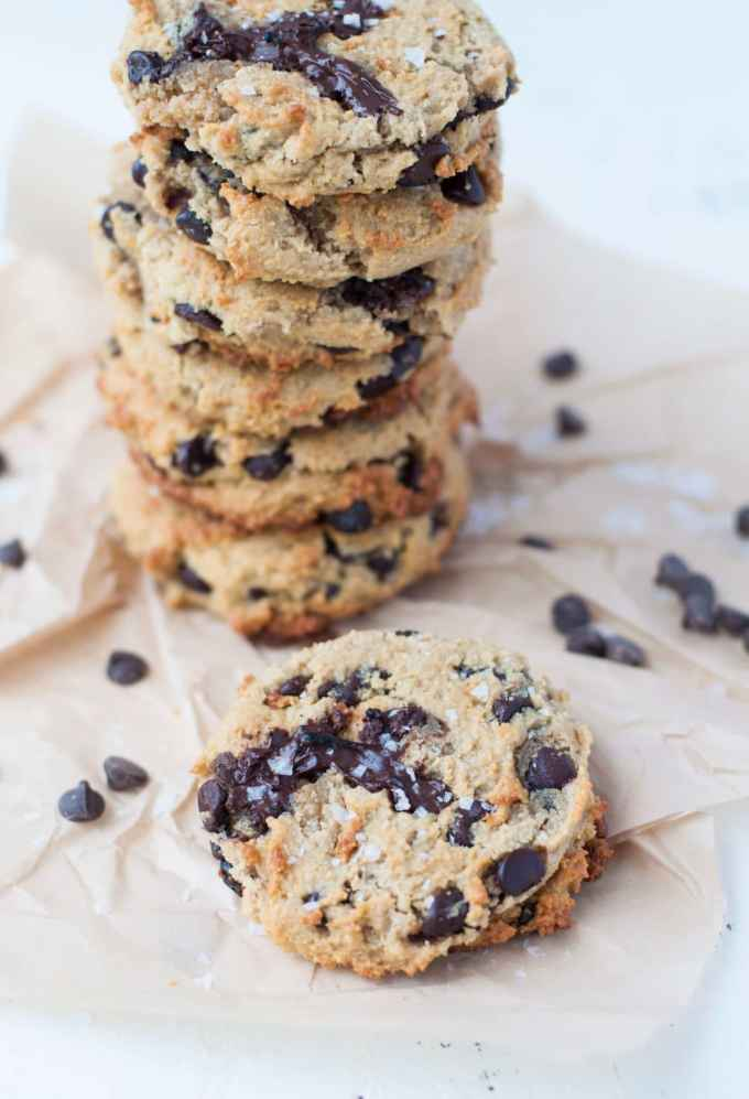Keto Salted Caramel Chocolate Chip Cookies | Peace Love and Low Carb