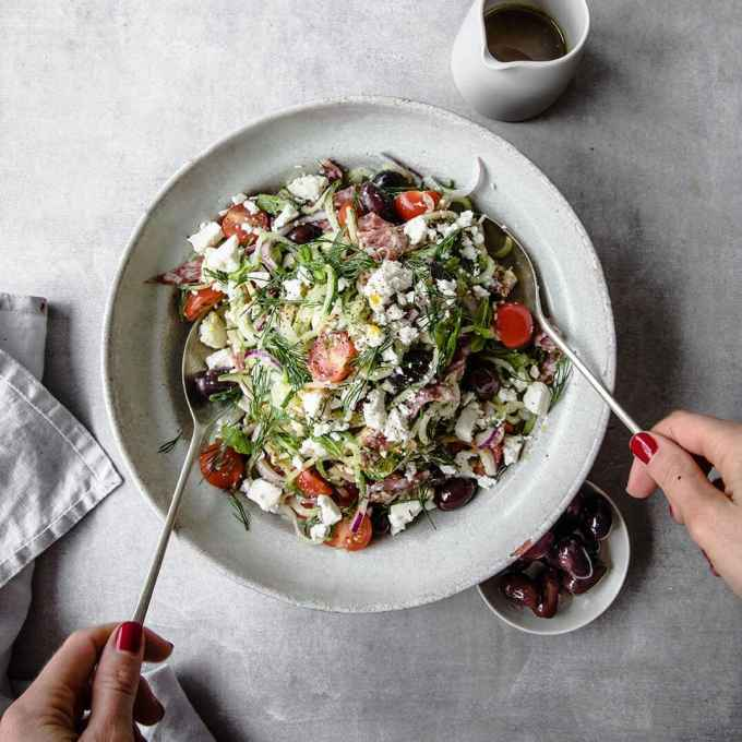 Cucumber Noodle Greek Salad | Peace Love and Low Carb